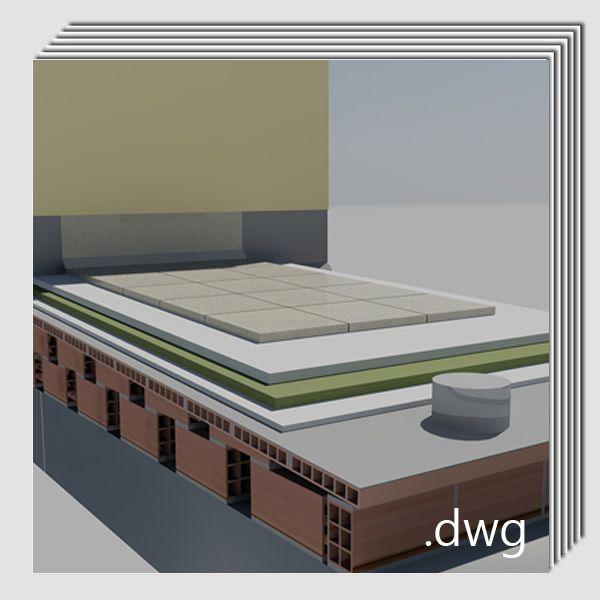 Pack detalles constructivos .dwg y .pdf: Reparación y rehabilitación de cubiertas planas transitables.