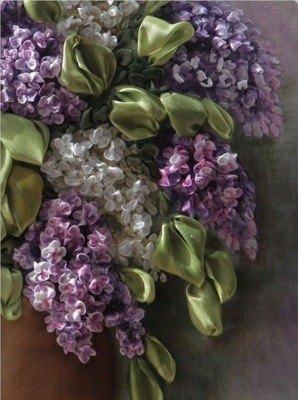 ribbon embroidery, lilacs