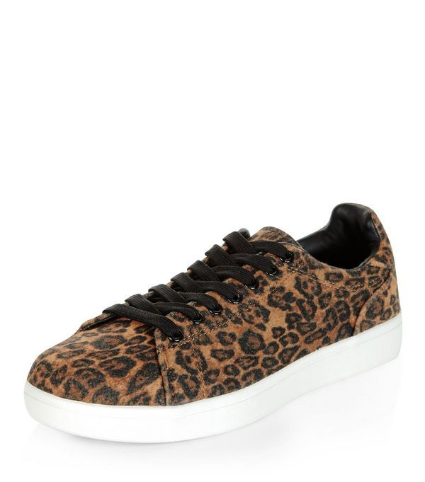 Stone Leopard Print Trainers  | New Look