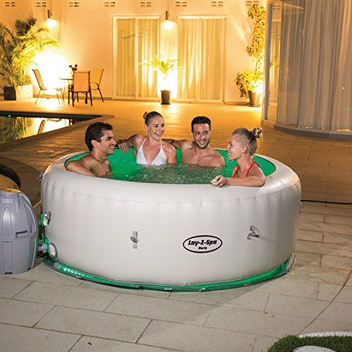Bestway Lay-Z-Spa Paris Inflatable Hot Tub  Easily set up either indoors or outdoors within minutes, the Lay-Z-Spa Paris is a great choice for an affordable, go-anywhere spa. It will look perfect set up on wooden decking or on the lawn. The Lay-Z-Spa Paris requires no tools or professional installation. With its soothing 104 Degree F water temperature, massage jets and color changing LEDs, this hot tub is perfect for soaking sore muscles, unwinding after a hard day at work or even as..