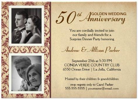 Invitaciones para fiesta de Bodas de Oro