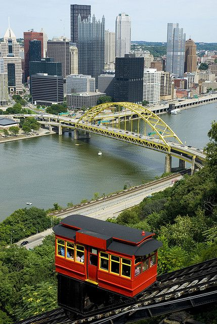 The Duquesne Incline, with view of downtown Pittsburgh, USA - warmest ...