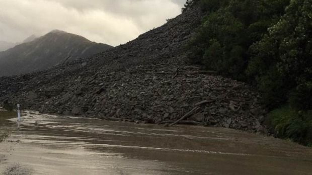 A slip on SH73 between Jacksons and Otira closed the road. Picture: NZTA/Twitter