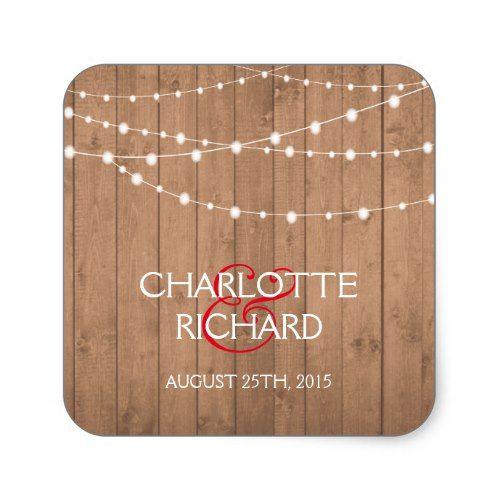 String lights onwood grain personalised stickers