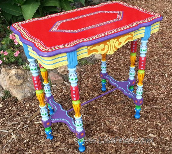 SOLD Sample Of CUSTOM WORK Hand Painted Furniture  Side Table Or Accent  Table Listing For A Deposit Or Down Payment. Bemalte MöbelBunte ...