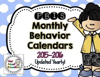 PBIS Monthly Behavior Calendars {Updated to Re-Download Ea