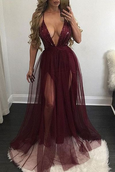 Sexy Prom Dress,Sleeveless Prom Dress,V Neck Evening Dress,Long Evening Gowns