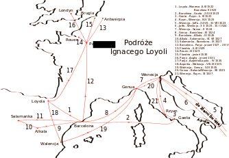 Podroze Loyoli - Ignatius of Loyola - Wikipedia, the free encyclopedia