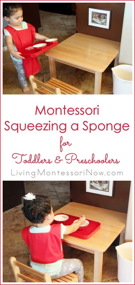 This Montessori squeezing a sponge activity strengthens hand and finger muscles for writing and increases concentration at the same time. A practical life activity with variations for toddlers and preschoolers; post includes embedded YouTube video