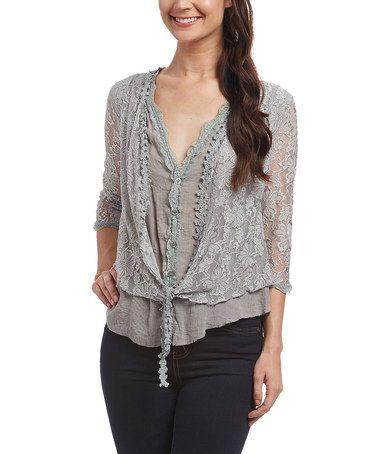 Look what I found on #zulily! Light Gray Lace Linen-Blend Cardigan - Women #zulilyfinds