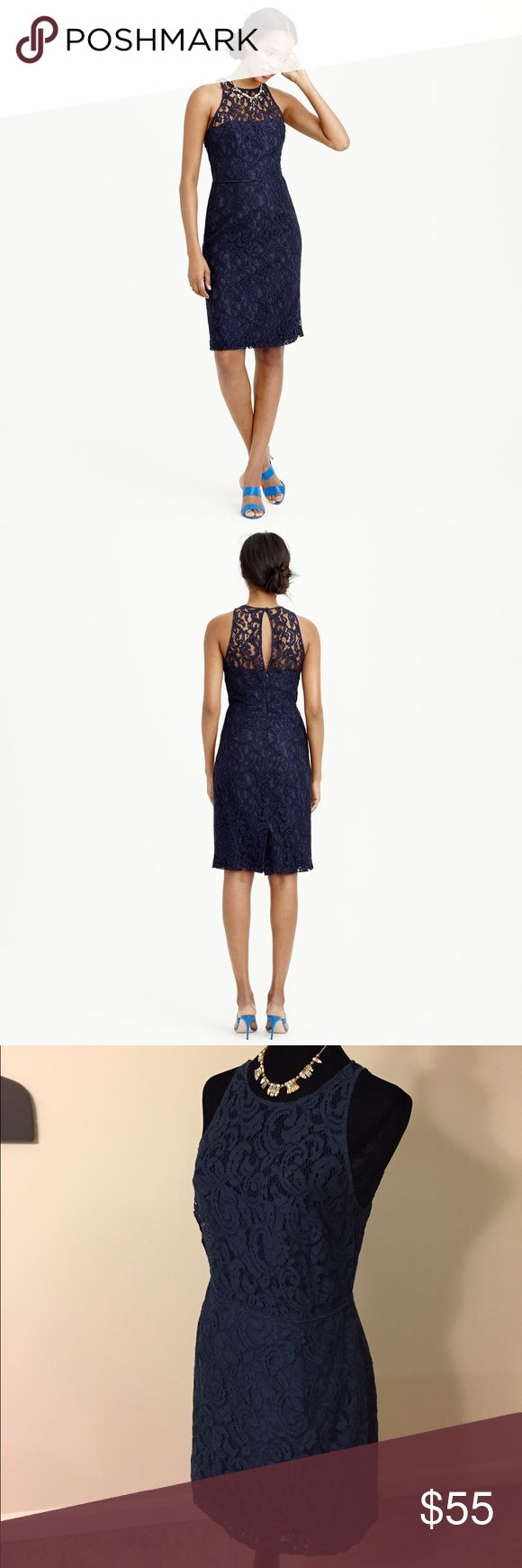 FREE SHIPPING! J. Crew Navy Lace Dress Gorgeous navy blue lace dress from J. Crew. Perfect for a summer wedding or shower! Excellent condition. Comment when ready to buy and I'll remove $6 to cover shipping costs. J. Crew Dresses Midi