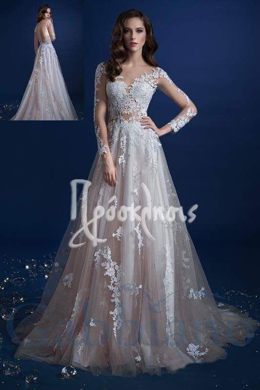 wedding dress with transparency in the dress