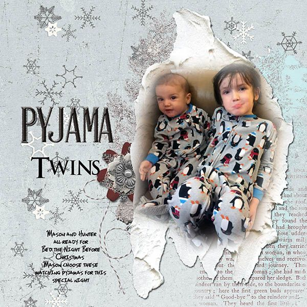 """My two youngest grands, all ready for bed the night before Christmas and dressed in matching pj's Mason always wants his younger brother to be dressed the same as him lol.    I used On a Whimsical Adventure Designs - """"A Winter's Tale Kit""""  https://www.oscraps.com/shop/A-Winter-s-Tale-Kit.html"""