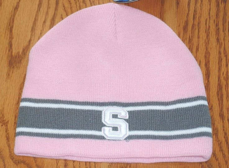 Womens Syracuse University Su Pale Pink & Gray Knit Beanie Skull Ski Hat Cap Nwt