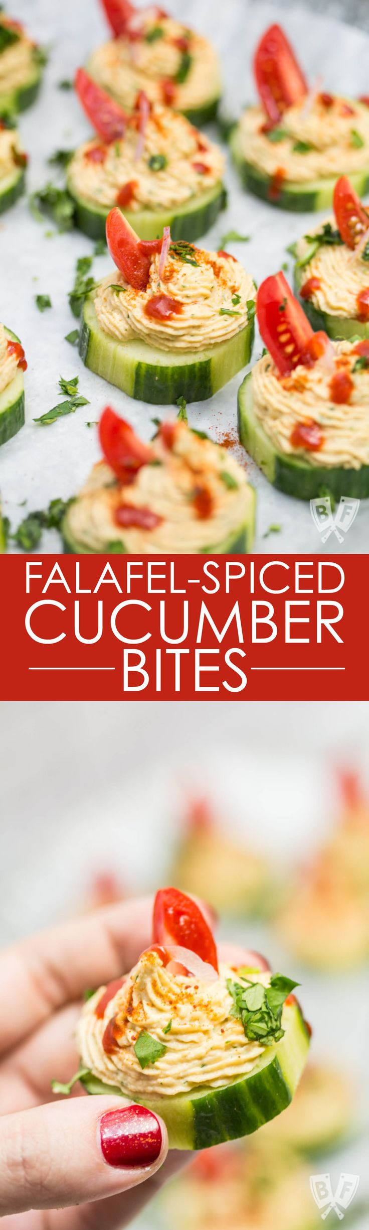 These quick & easy cucumber bites are a healthy party appetizer recipe with major Middle Eastern flair! They make a great addition to any dinner, cocktail party, or game day appetizer spread! Falafel-Spiced Cucumber Bites #partyappetizer #gamedayfood #healthysnacks #ad #StonyfieldBlogger