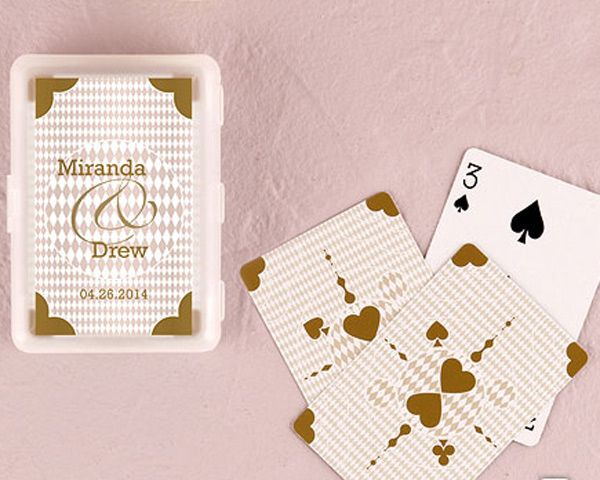 Personalized Metallic Gold Playing Cards In Plastic Case - Gold Wedding Favors - New Years Eve Wedding Favors