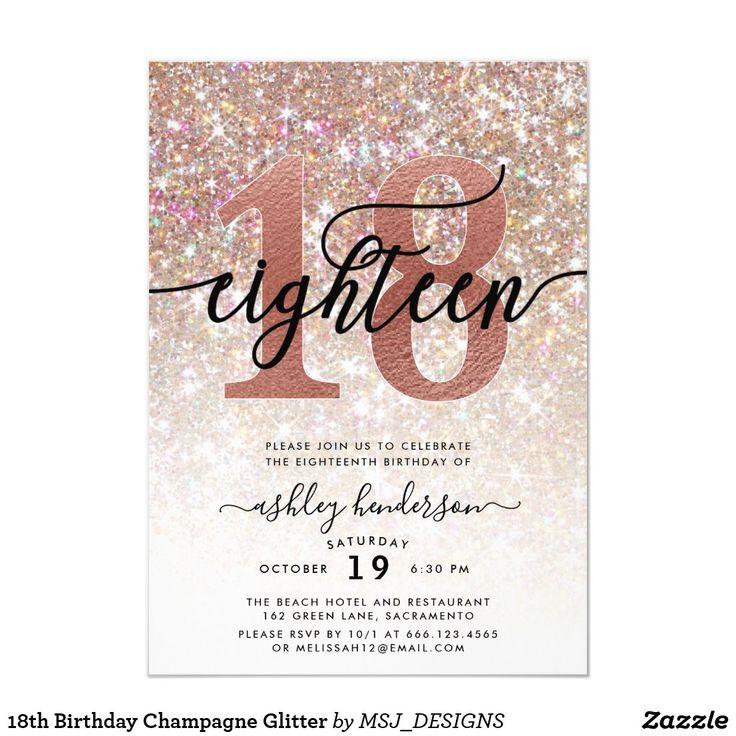18th Birthday Champagne Glitter Invitation in