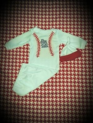 Check out this item in my Etsy shop https://www.etsy.com/listing/221791821/st-louis-cardinals-baby-layette-gown-st