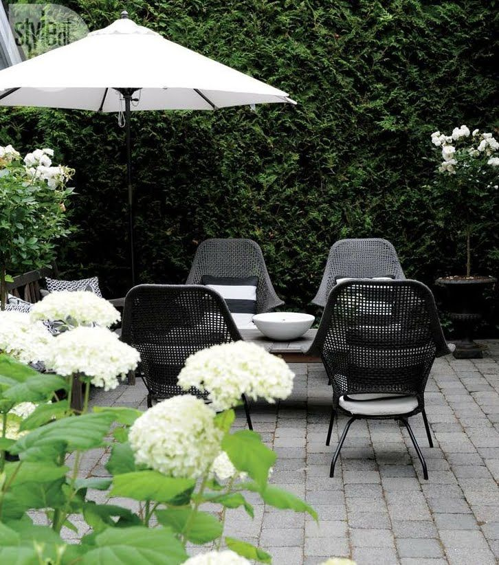 Green, Black, and White patio