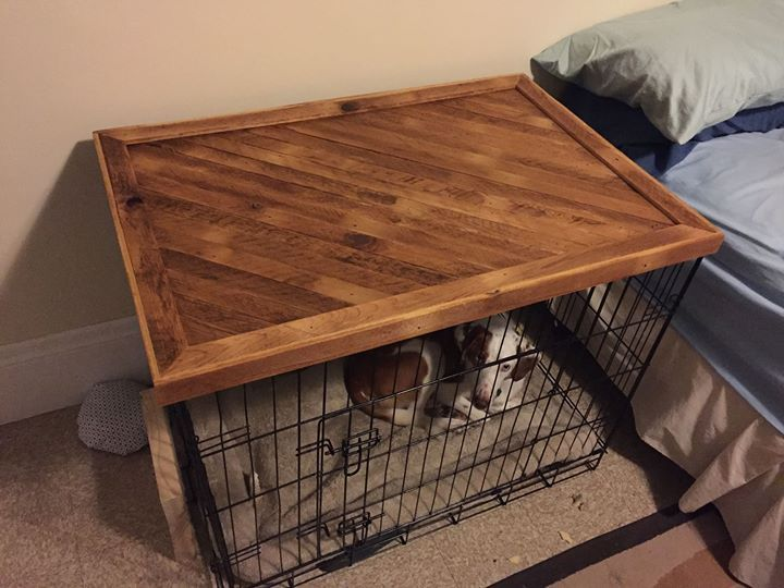 17 best ideas about dog crate table on pinterest dog for Wooden crate bedside table