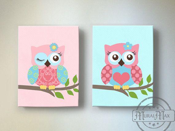 Owl Nursery Wall Art Girls Room Decor Canvas Art Set by MuralMAX