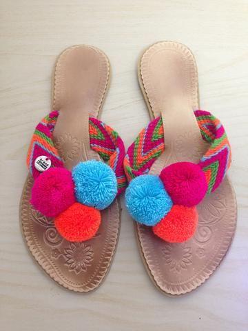 Naranja Pompom Flip-Flops