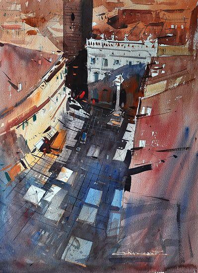Piazza Erbe Verona by Eugen Chisnicean Watercolor ~ 60cm x 45cm