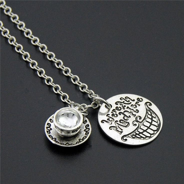 "Alice In Wonderland ""we're All Mad Here"" NecklaceHand Cat Smile"