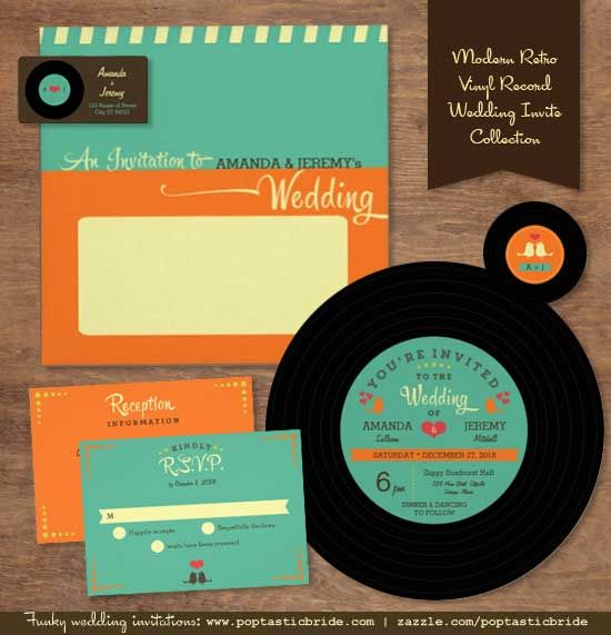 Presenting a new invitation collection for you music-loving couples. :)  The Modern Retro Vinyl Record wedding invitation set comes with a round vinyl record-inspired invite with a chic vintage