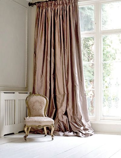 puddled drapery ....beautiful! I love this color for guest room!