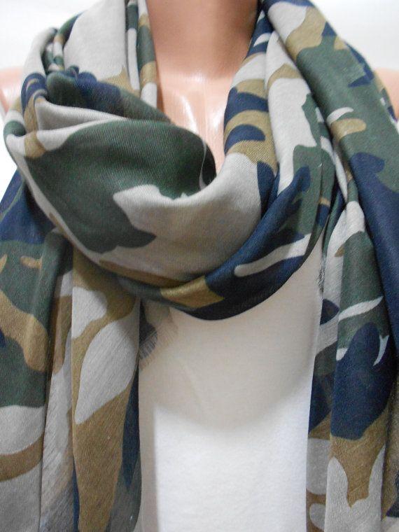 Military Scarf Shawl, Camouflage Pattern Scarf Shawl, Army Green Scarf, Camo Scarf, Khaki Cowl Scarf, For Her, Women Accessories, ScarfClub