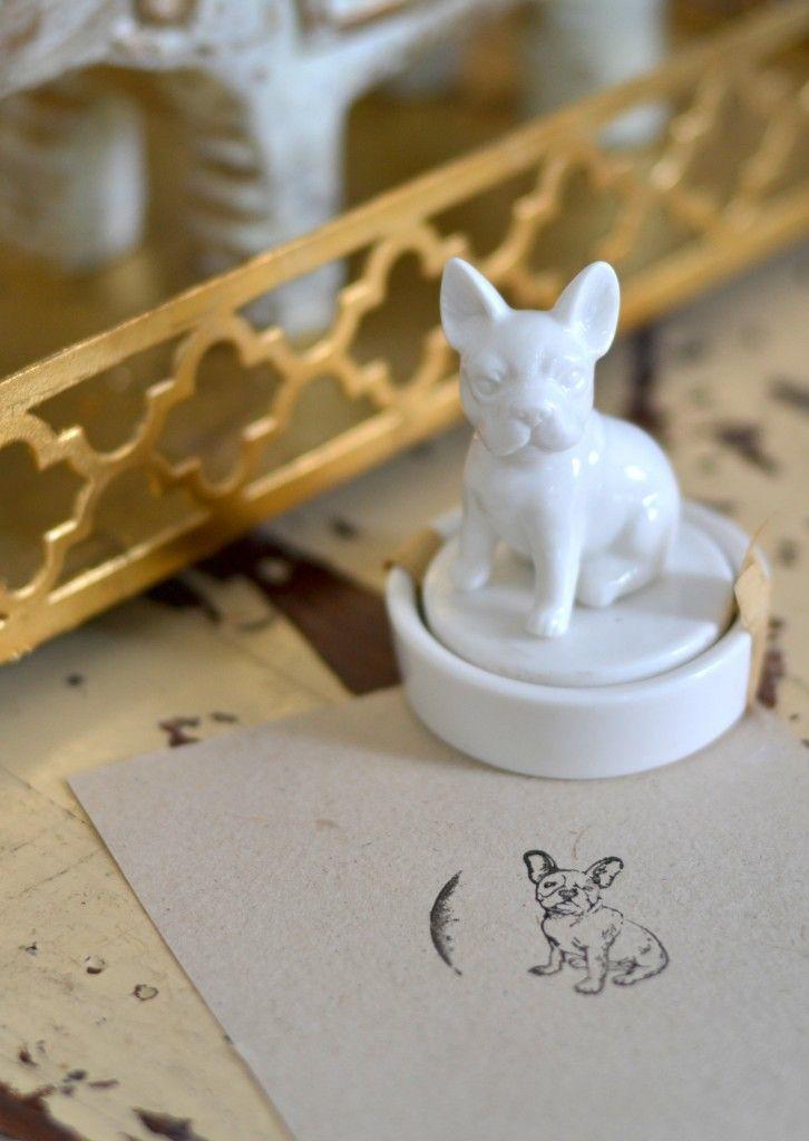 ceramic French bulldog stamp