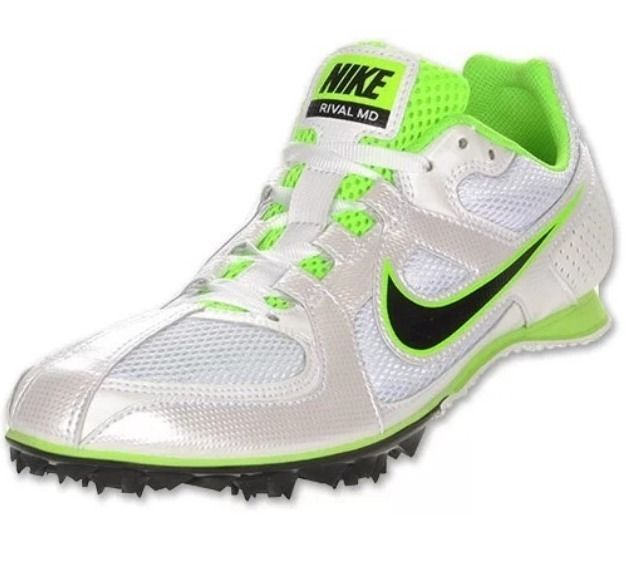 NEW NIKE Zoom Rival 6 MD Track Field Running Spikes White Green Sz 6 (women 7.5)