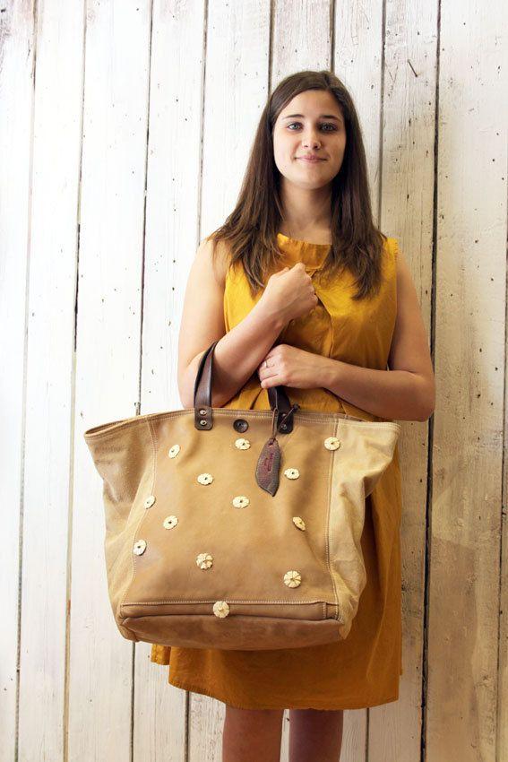 MYBAG Coco FLOWER Handmade Italian Leather & Canvas Tote Handbag di LaSellerieLimited su Etsy