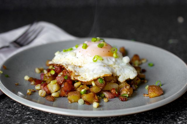 Corn. Potatoes. Bacon. And a beautifully runny egg. Yes, please!
