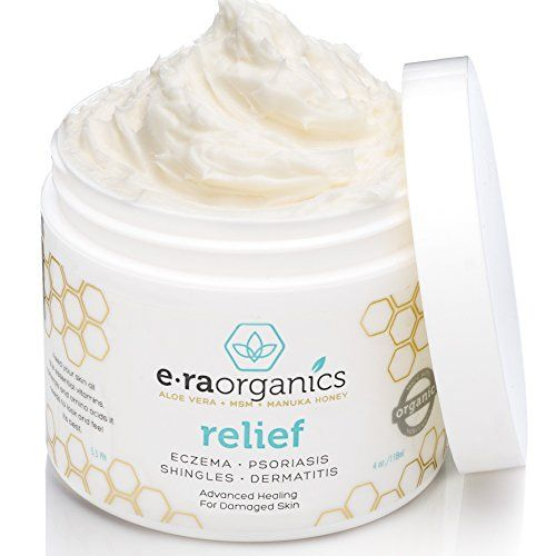 Era Organics Eczema & Psoriasis Cream (4oz) Advanced Healing Moisturizer for Dry, Sensitive Skin. Unique 10-in-1 Formula with Aloe Vera, Shea Butter, Manuka Honey, Coconut Oil and More. Fragrance Free, Hypoallergenic, Non-greasy Treatment for Instant and Long Term Relief. Era Organics http://www.amazon.com/dp/B00OSAUYTA/ref=cm_sw_r_pi_dp_kF8nvb0AVY1DH