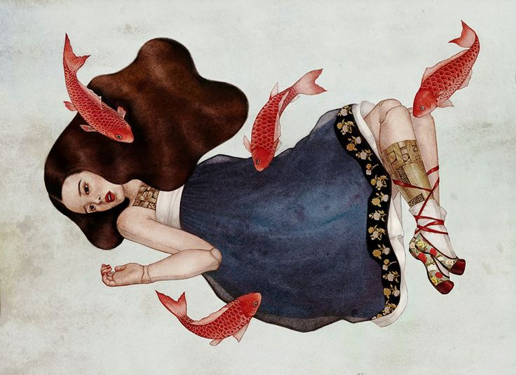 red fishes and girl