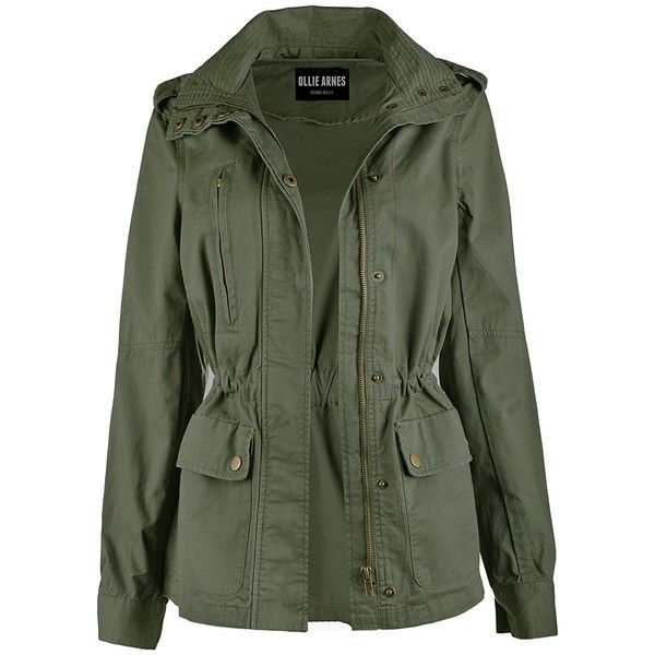 Ollie Arnes Women's Utility Militray Anorak Drawtring Parka Jackets... (£29) ❤ liked on Polyvore featuring outerwear, jackets, green anorak jacket, olive anorak jacket, sport jacket, olive green jacket and sports jacket