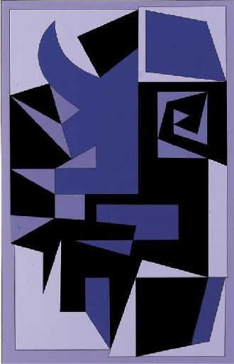 Santorin, Oil by Victor Vasarely (1906-1997, Hungary)