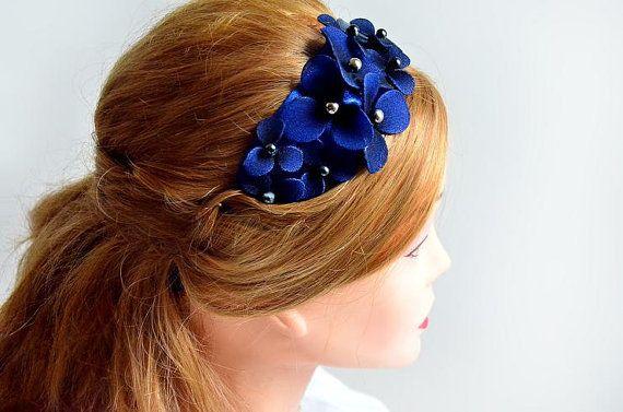 Navy blue headband Bridesmaid headband Headband fascinator Wedding headpiece Flower hair band by #MyArtDeco