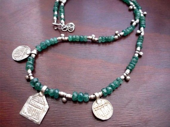 Emerald and Indian silver necklace by beethingsstudio on Etsy