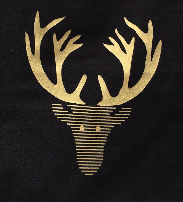 **Elch  Gold  - Stoffbeutel von crownprintcess   Schönes für zu Hause**  Biobaumwolle / Stoffbeutel  Motiv: Elch  Schwarzer Beutel mit goldenem Aufdruck.  Größe/Maße ca. 38cm x...