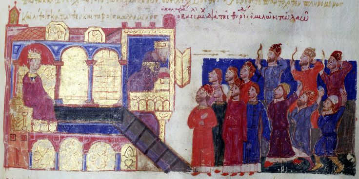 Illustration from  Scylitzes Chronicle  f220v  The uprising of Constantinople against Michael Kalaphate.  The uprising of the people of Constantinople against Michael Kalaphate. At the left is the palace and the defenders of the king who fire arrows through the window at the crowd.  Scylitzes Chronicle