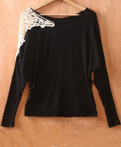Black long sleeve shirt, with lace shoulder.