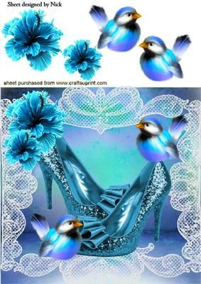 BLUE SPARKLE SHOES WITH LITTLE BIRDS AND FLOWERS 8X8 on Craftsuprint - Add To Basket!
