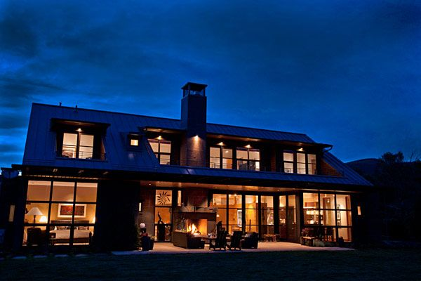 Architecture, South Exterior At Night House Home Lighting Lamp Ceiling Glass Window Wooden Wall Furniture Fire Place Chimney Courtyard Villas Cotagge Aspen Resorts Colorado Vacation Contemporary Architecture Designs Real Estate Ideas: Charming, Picturesque Rural Villa Outside Aspen, Capturing Views of Ski Areas