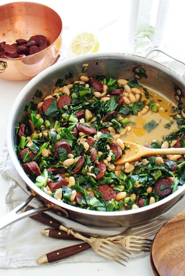 Spanish Chorizo with Collard Greens and White Beans / Bev Cooks