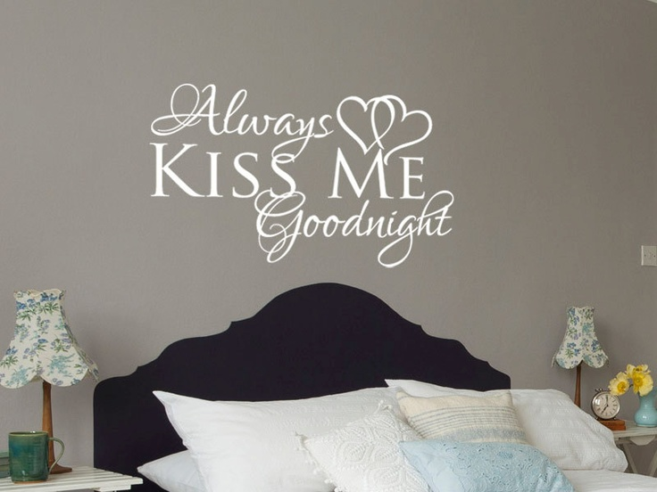 Wall decal Always kiss me goodnight romantic love vinyl wall decal - #2 choice w/ brown text, pink hearts