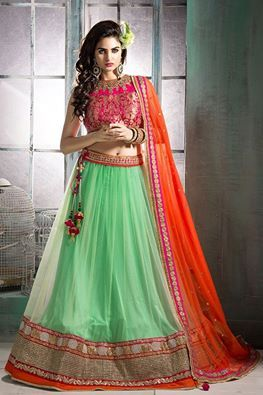 Glam up your ethnic look as you wear this adorable pink and green color lehenga choli. Buy lehenga online - http://www.aishwaryadesignstudio.com/mesmerizing-pink-and-green-color-lehenga-choli-with-contrast-orange-dupatta
