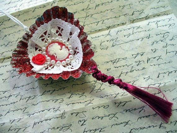 Rode en witte dame Cameo Tart Tin Ornament Zweedse zand taart schimmel…